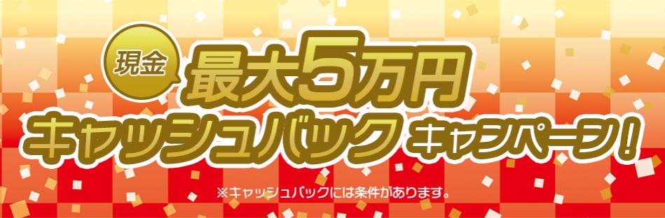 最大5万円キャッシュバック